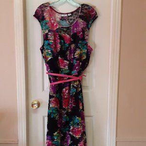Cato Lacy Floral Dress W/Belt NWOT